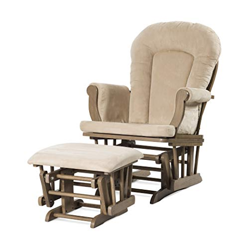 Forever Eclectic by Child Craft Cozy Glider and Ottoman, Dusty Heather with Beige Cushion