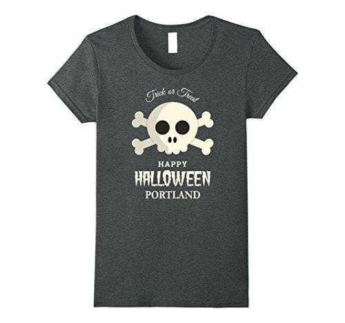 Womens Portland Trick or Treat Happy Halloween Party T Shirt Medium Dark Heather (Halloween Costumes Portland Or)