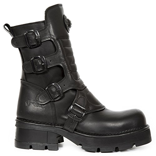 New Rock Mens Crust Leather Boots Black
