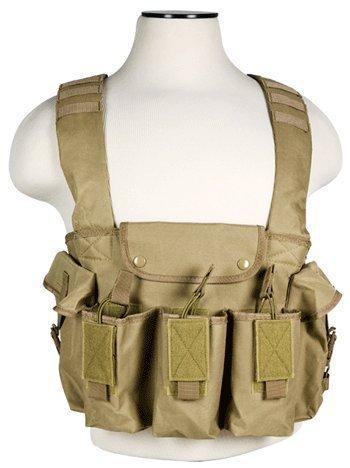 VISM by NcStar AK Chest Rig - Tan Color - Fits Six Full Size 7.62x39 AK47 MAK90 Galil Saiga Rifles