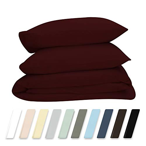 dding 3-Piece Full/Queen Red Wine Duvet Cover Set, 400 TC 100% Long-Staple Combed Cotton Soft, Silky & Breathable Duvet Cover Set, Perfect Cover for your Down Comforter ()