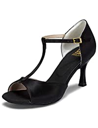 JIA JIA J20511 Women's Satin Sandals Flared Heel Latin Salsa Performance Dance Shoes