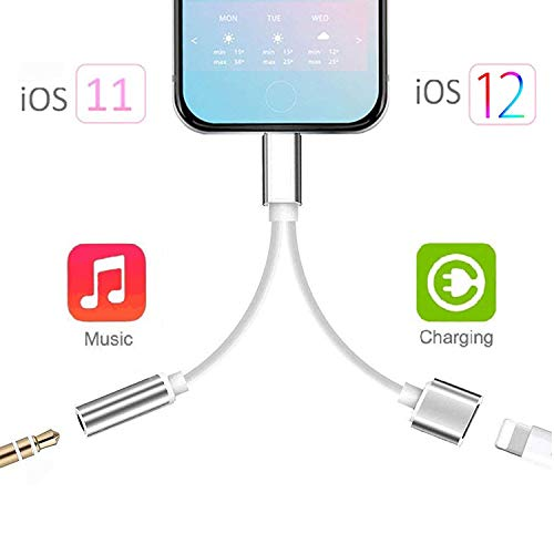 - Headphone Jack Adapter Dongle for iPhone Xs/Xs Max/XR/8/8 Plus/X (10) / 7/7 Plus Adapter to 3.5mm Jack Converter Car Charge Accessories Cables & Audio Connector 2 in 1 Earphone Splitter Adaptor-Silver