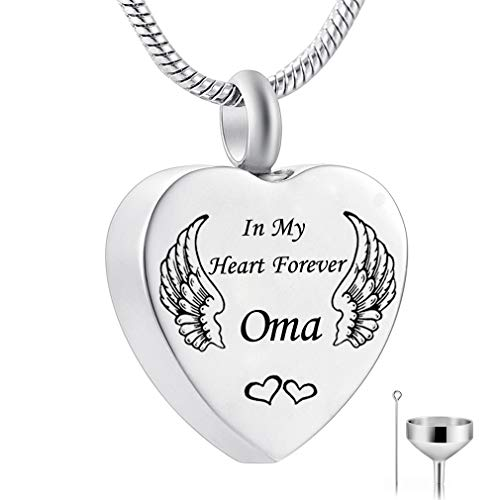 HQ Angel Wings Heart Memorial Cremation Urn Necklace for Ashes Keepsake Jewelry Fill (oma) ()