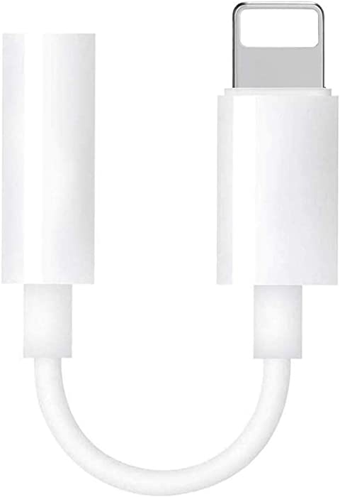 [Apple MFi Certified] for iPhone Lightning to 3.5mm Headphone Jack Adapter Female Audio Connector Compatible with iPhone11/11Pro/ Xs/XR /8/7 Plus/ipad/iPod Support Music Control/All iOS-White