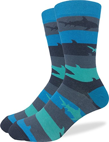Good Luck Sock Mens Shark Crew Socks,Large (Shoe size 7-12),Blue