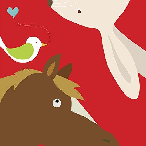 Yuko Lau Farm - Farm Group - Rabbit and Horse by Yuko Lau - Ready to Hang Canvas Giclee - 18 x 18 inches