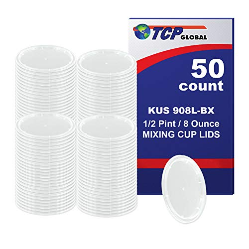 Kus Quick Mix Cups - Custom Shop /TCP Global (Box of 50 Lids - 1/2 Pint Size) Exclusively fits TCP Global 8 Ounce Paint Mix Cups