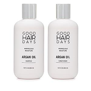 Moroccan Argan Oil Shampoo & Conditioner Set, Good For Hair Extensions, Shampoo & Conditioner for Keratin Treated Hair, Volumizing & Moisturizing, Gentle on Curly & Color Treated Hair