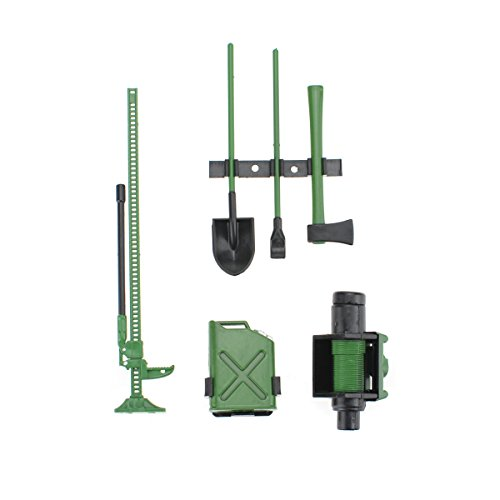 (Hobbymarking 6Pcs RC Rock 1/10 Accessory Tool Set Axes Digging Tank High Jack Winch Pry Bar for RC Crawler Axial SCX10 RC4WD Car Parts (Green))