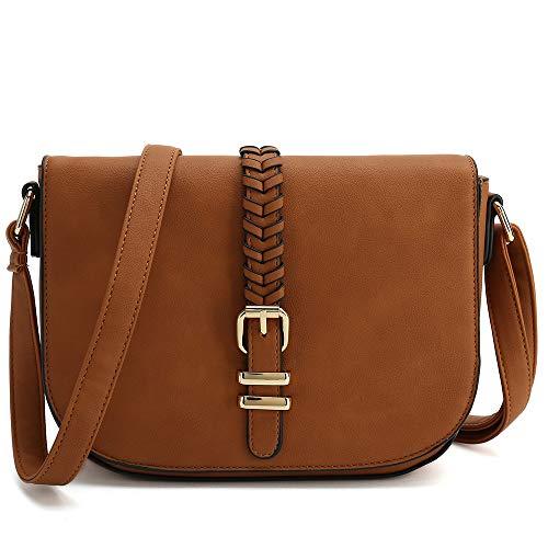 - Casual Small Crossbody Saddle Bags for Women Shoulder Purse Designer Handbags (Brown)