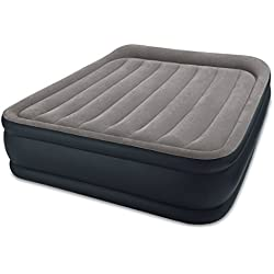 "Intex Dura-Beam Standard Series Deluxe Pillow Rest Raised Airbed w/Soft Flocked Top Comfort, Built-in Pillow & Electric Pump, Bed Height 16.5"", Queen"