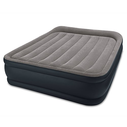 Intex Dura-Beam Standard Series Deluxe Pillow Rest Raised Airbed w/Soft Flocked Top for Comfort, Built-in Pillow & Electric Pump, Bed Height 16.5