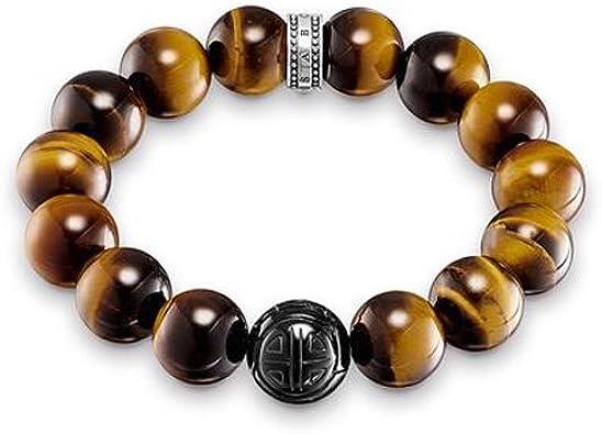 Thomas Sabo A1574-806-2 - Pulsera para Hombre, Plata de Ley 925, diseño de corazón, Color marrón