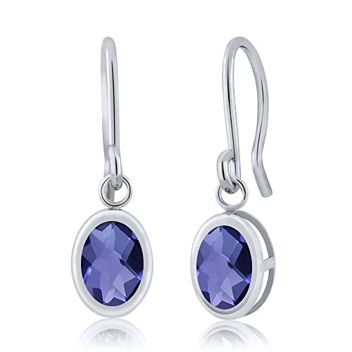 Gem Stone King Sterling Silver Blue Iolite French Wire Dangling Earrings (1.30 cttw, 7X5MM Oval Checkerboard) ()