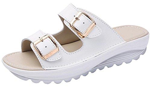 - V VOCNI Women's Slide Leather Sandal Shoes Buckle T-Strap Platform Slide Sandals White EU 41-9 B(M) US