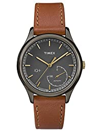 Timex Women's TWG013800L3 Fashion IQ+ Move Grey Dial and Brown Leather Strap Additional Silicone Strap Watch