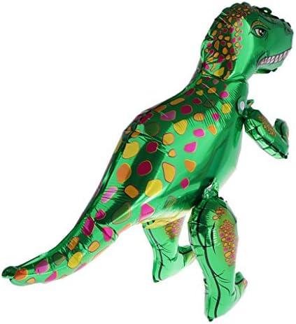 F Fityle かわいい4D立ち恐竜アルミホイルバルーンパーティーウェディングフェスティバルの装飾 - 緑のティラノサウルス