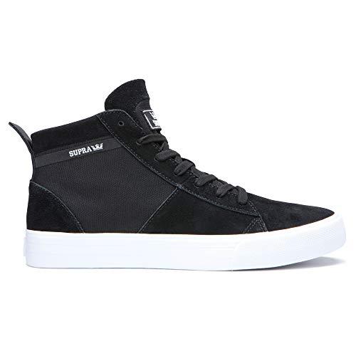 Supra Footwear - Stacks Mid Top Skate Shoes, Black/Black-White, 13 M US Women/11.5 M US Men