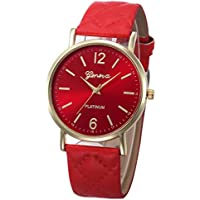 Ikevan Fashion Women Geneva Roman Watch Lady Leather Band Analog Quartz Wrist Watch (Red)