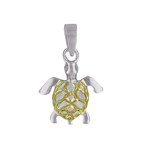 Turtle Charm Gold Plated - Sterling Silver with 14kt Yellow Gold Plated Accents XS Sea Turtle Charm Pendant