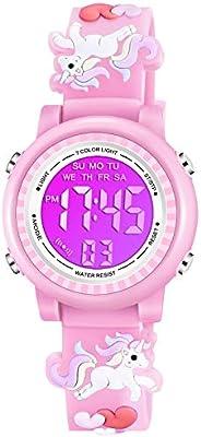 Venhoo Kids Watches 3D Cartoon Waterproof 7 Color Lights Toddler Wrist Digital Watch with Alarm Stopwatch for