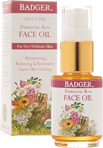 Rose Face Balm - Badger Damascus Rose Face Oil - 1 fl oz Glass Bottle