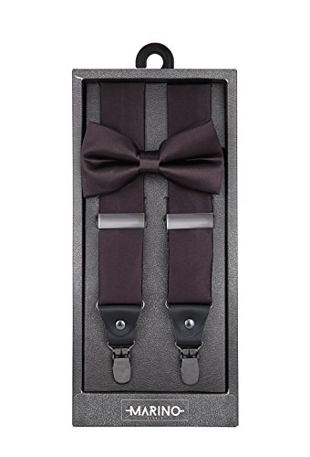 Marino Men's Y-Back Adjustable, Silk-like Dress Suspender and Bowtie Set - Brown - 42