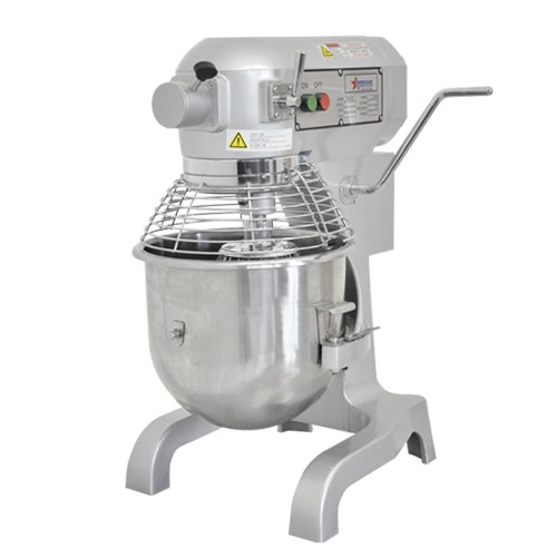 Omcan SP200A 20qt Planetary Dough Mixer with Guard and 3 Attachments by Fma Omcan