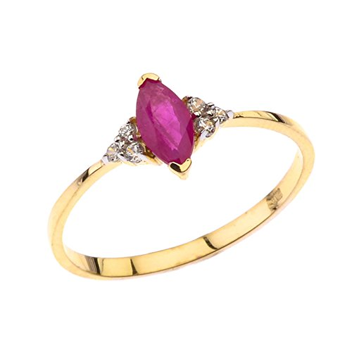 Dazzling 10k Yellow Gold Genuine Marquise Ruby with White Topaz Proposal/Promise Ring (Size 11.75)