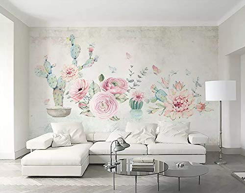 Potted Floral Wallpaper Border - 3D Mural Wallpaper Cactus Rose Flower Butterfly Potted Custom Large Wallpaper 3D Effect Giant Murals Wall Paper