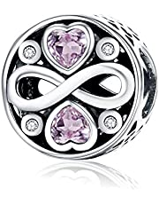 Forever Love 925 Sterling Silver Bead Charms Fits Pandora, European Bracelets Compatible