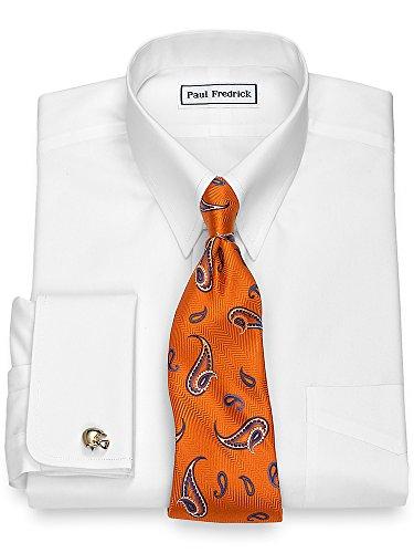 Tab Collar Shirts (Paul Fredrick Men's Non-Iron Supima Cotton Button Tab Collar Dress Shirt White 16.0/33)