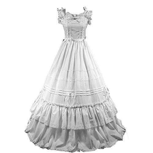 I-Youth Women's Short Sleeve Ruffled Lolita Dress Wedding Party Dress (S, -