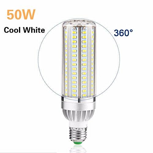 50W Daylight LED Corn Light Bulb, LINFON 5400lm 360 Watt Halogen Bulb Equivalent 6000K Cool White E26 E27 LED Bulbs for Large Area Lighting-Garage Warehouse Factory Office Barn Street Lamp