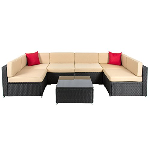 7pc Outdoor Patio Garden Wicker Furniture Rattan Sofa Set Sectional Black (Union Jack Futon)