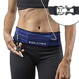 Build & Fitness Running Belt, Adjustable Waist, Comfortable, Slim, Key Clip - Fits Fuel Gel, iPhone 6,7,8plus,X, Samsung S7,S8,S9 - for Men, Women, Runners, Jogging, Gym, Yoga, Workout