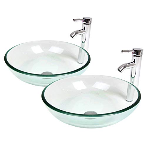 Tempered Glass Vessel Bathroom Vanity Sink Round Bowl (Crystalline 2)