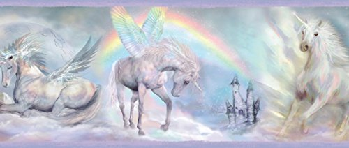 Chesapeake TOT46442B Farewell Blue Unicorn Dreams Portrait Wallpaper Border ()