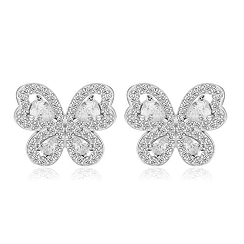 [Women Stud Earrings Gold Plated Colorful Cubic Zirconia Butterfly Heart Earrings for Women by] (Three Kings Costumes Make)