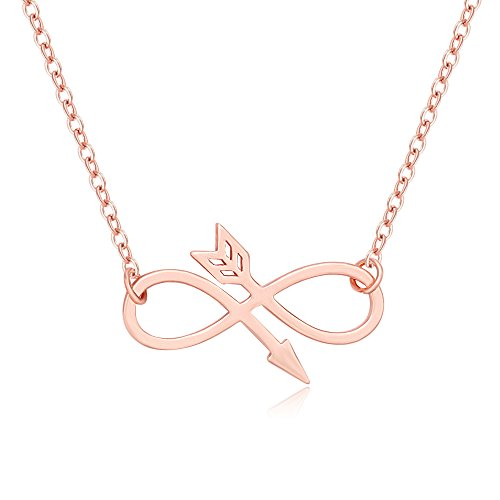 Pendant Female Symbol (MANZHEN Arrow Infinity Symbol Pendant Necklace BFF Gifts for Women (rose gold))