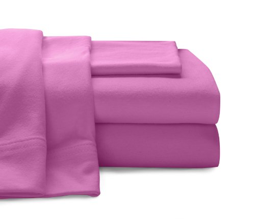 BALTIC LINEN COMPANY Cotton Jersey Sheet Set, Twin, Bright Pink