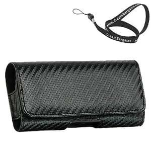 Premium Horizontal HC - Black Carrying Case Pouch Case for Apple iPhone 5C 5c - Free DreamBargains Neckstrap / Lanyard!