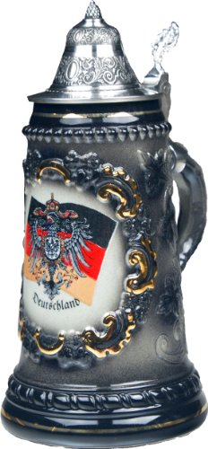 Beer Steins by King - Black German (Deutschland) Flag and CoA German Beer Stein (Beer Mug) 0.5l by KING