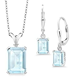 Silver Sky Blue Topaz Pendant Earrings Set