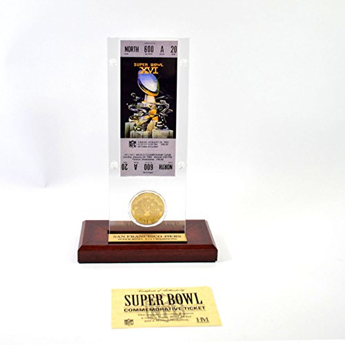 Highland Mint Super Bowl XVI Replica Ticket with Bronze Coin (Super Bowl Bronze Coin)