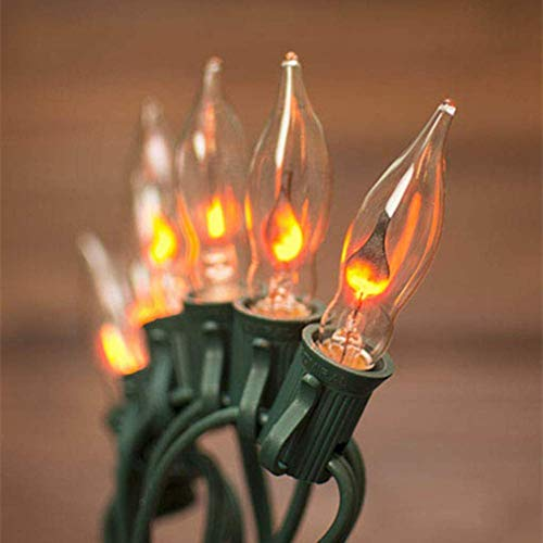 Boutique window 10FT Flickering Amber Flame C18 Religion Lights Halloween lights - Green Wire (Christmas Lights Flickering Flame)