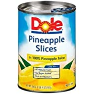 Dole Pineapple Slices in 100% Pineapple Juice, 20 ounce Cans (Pack of 6)
