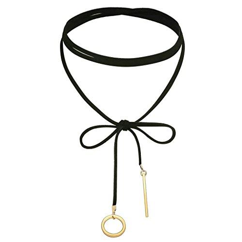 AnaZoz Bijoux Fantaisie Collier Femme Ras du Cou Velours Choker Gothique Circle Rectangular Pendentif, Noir Or