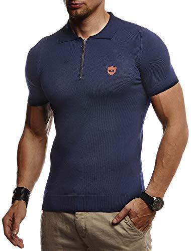 Leif Nelson Herren Sommer T-Shirt Polo Kragen Poloshirt Slim Fit aus Feinstrick Cooles weißes schwarzes Basic Männer Polo-Shirts Jungen Kurzarmshirt Kurzarm Sleeve Shirt Top LN20753